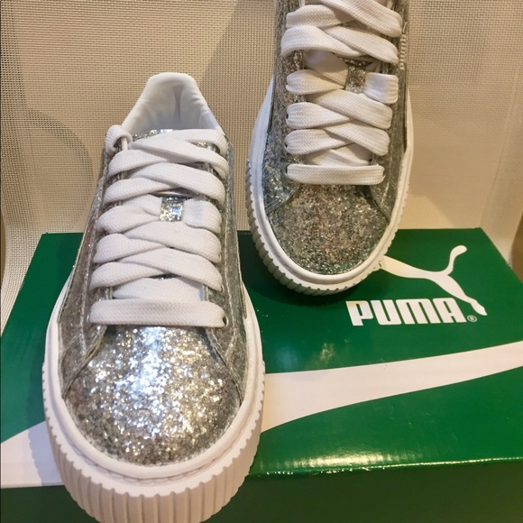 reputable site 9ce32 7ffeb NEW PUMA BASKET PLATFORM SILVER SNEAKERS US 6.5